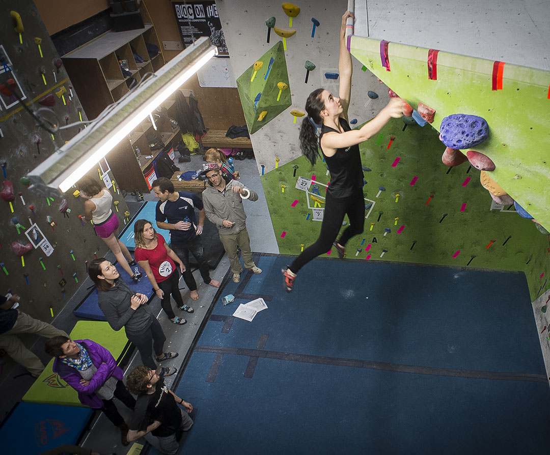Erinn Locke winning the Woman's Open category at Bloc On The Rock provincial climbing competition on Nov 26.